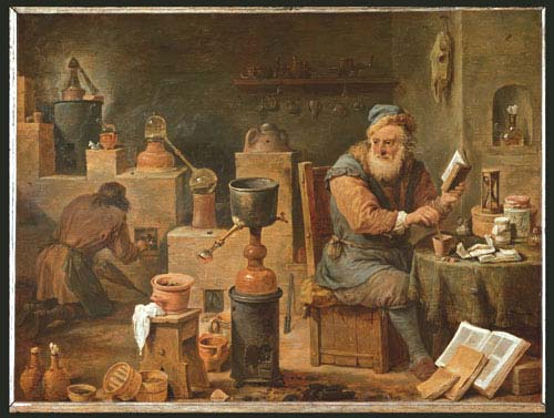 Atelier d'un alchimiste peint par le peintre flamand David Teniers the Younger (1610-1690).